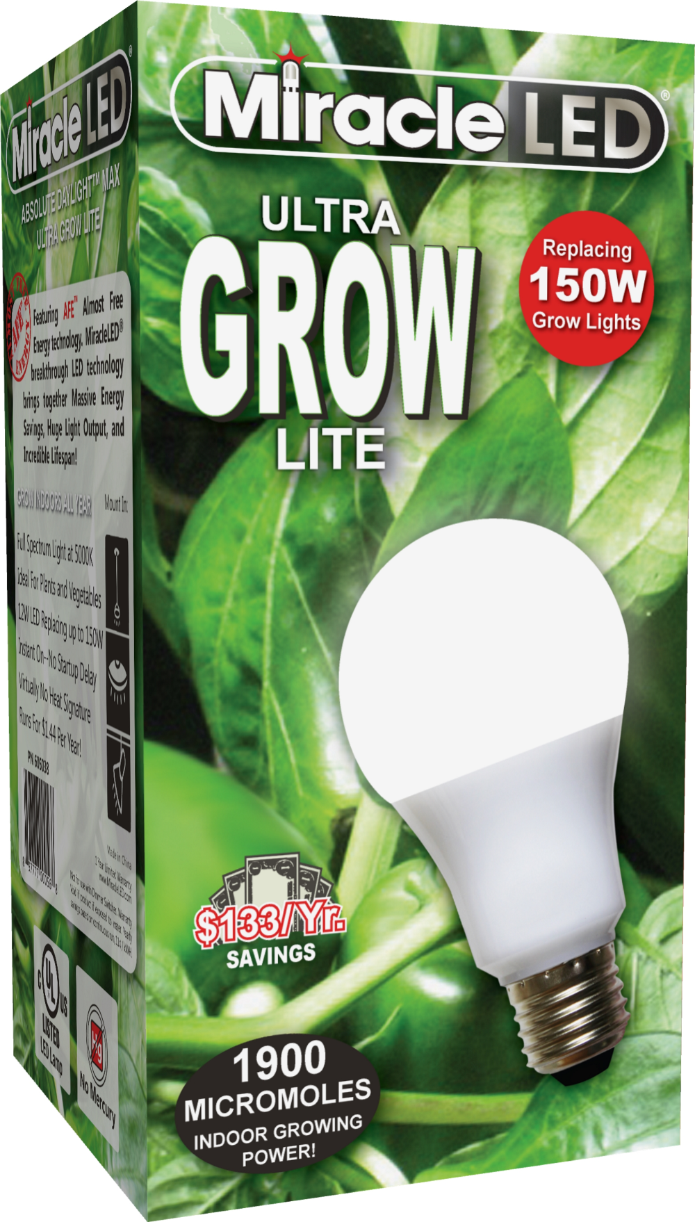 Miracle Led Ultra Grow Lite Replace 150w Full Spectrum Daylight Walmart Com Grow Lights For Plants Growing Plants Indoors Aquaponics Diy