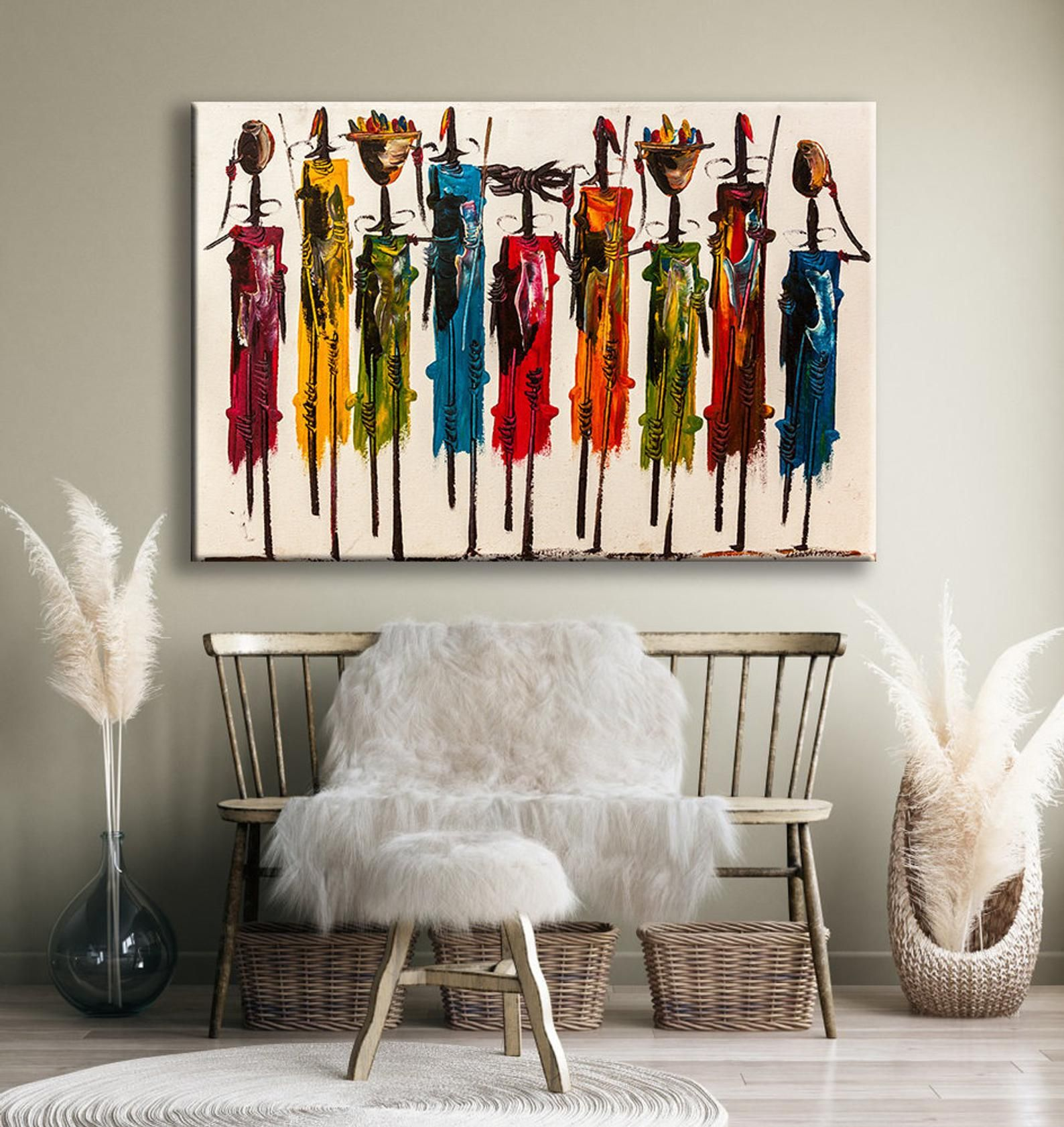 Abstract african wall art masai canvas print colorful
