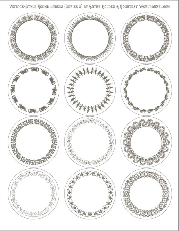 photo about Round Printable Labels called Totally free Printable Editable Traditional Design and style Spherical Labels in just 6