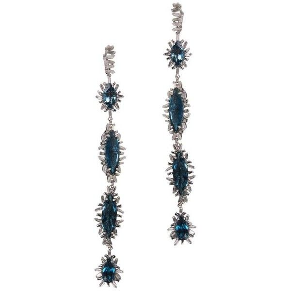 Suzanne Kalan 14k Blue Topaz Firework Stud Earrings REG4Q
