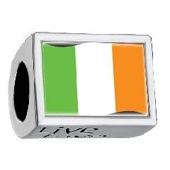 Ireland Flag Photo Live Love Laugh Charm 925 Sterling Silver Fit All Brands