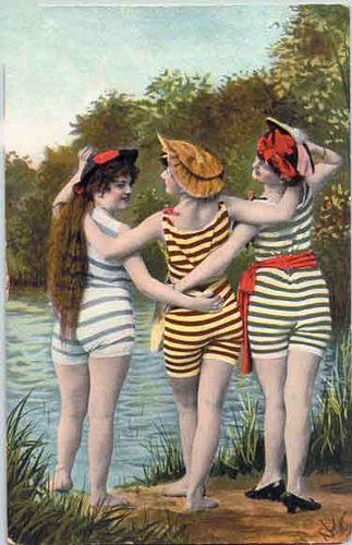 Swim Time vintage postcard