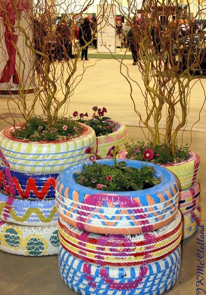 Decorar el jard n con llantas neum ticos llantas for Como decorar un jardin con macetas