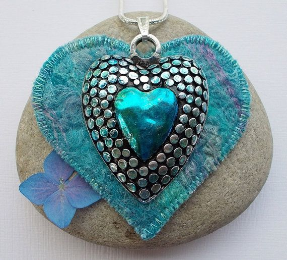 Hey, I found this really awesome Etsy listing at https://www.etsy.com/listing/189032363/textile-and-metal-heart-pendant-necklace