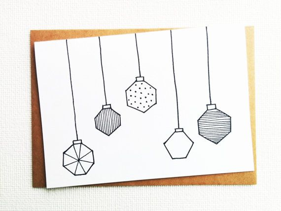 Christmas baubles, Christmas card, Xmas cards, New year cards, Simple christmas cards, Black and white, Geometric, Cute, Holiday greetings