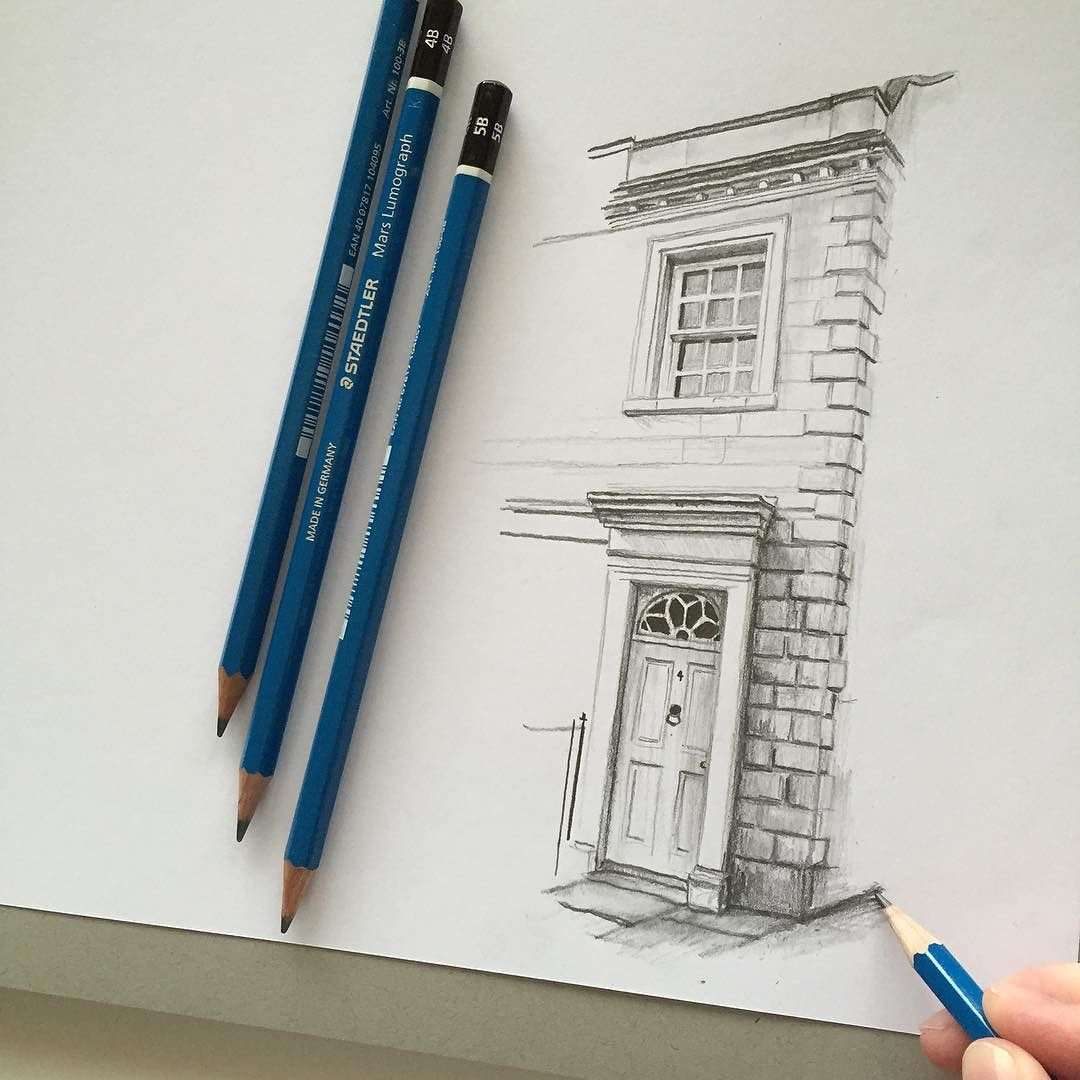Pencil Architectural Illustration : Art drawing pencil sketch illustration house