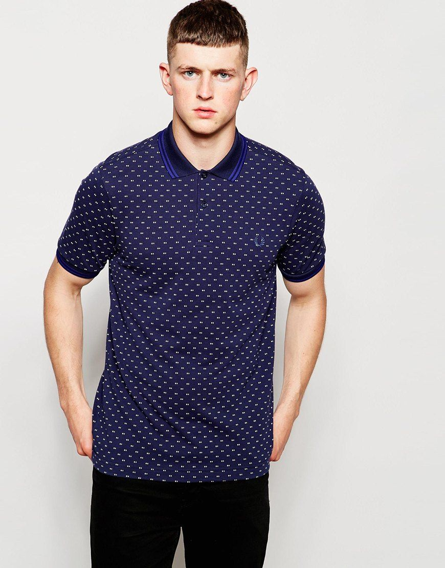 584b48ab2 Fred Perry Polo Shirt with Twin Tip and Polka Dot in Dark Carbon ...