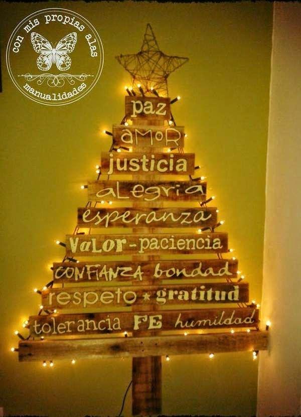 Árbol de Navidad con listones de madera Matias Pinterest - decoraciones navideas para el hogar