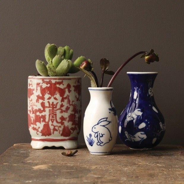Stoneware Vases and Planter, Set of 3