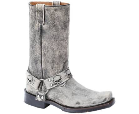 Harley-Davidson Footwear men's Rory motorcycle boots in Slate. Distressed leather harness boots with stamped skull details. Features rubber outsole and welt construction.