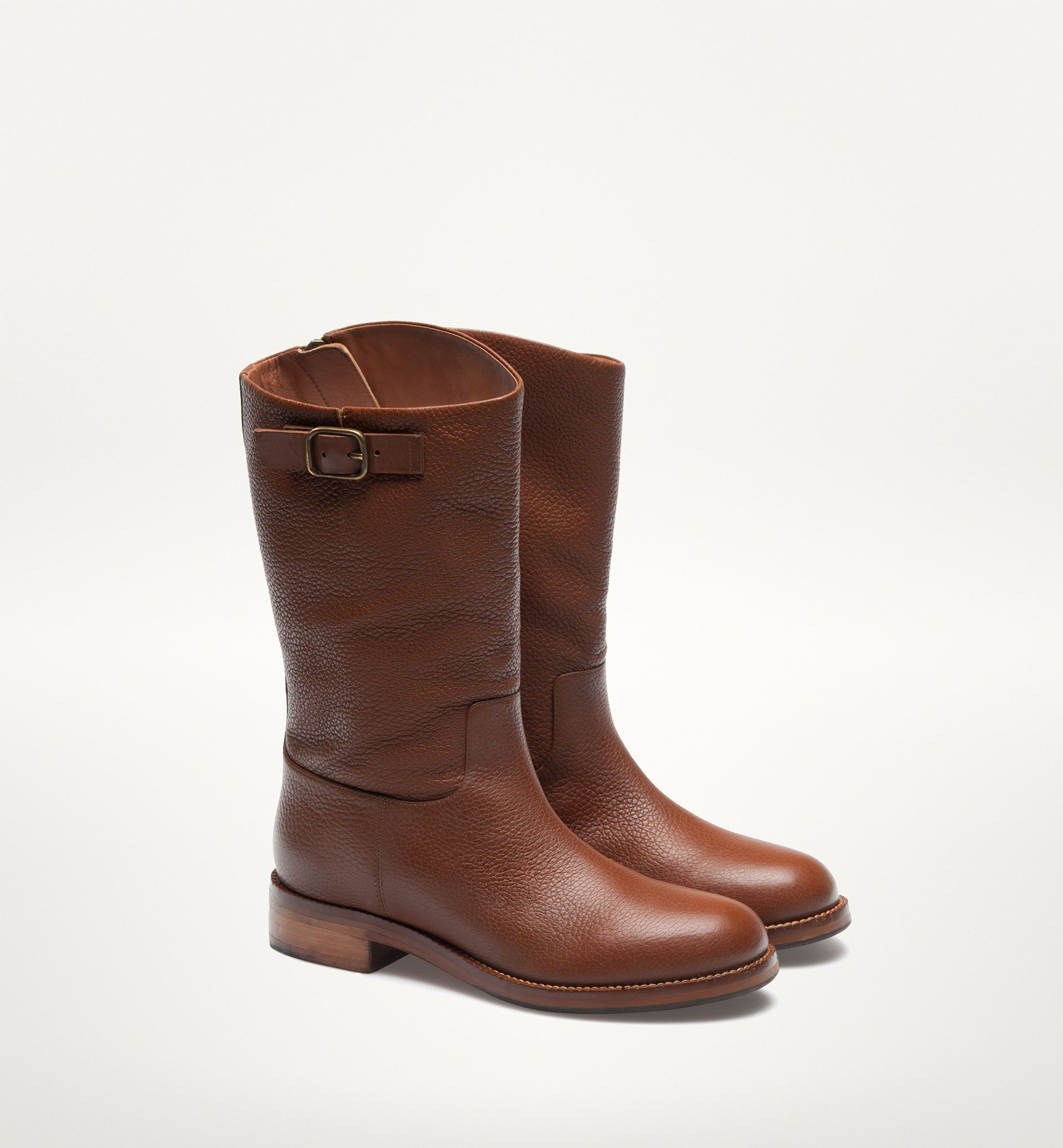 7ec534b4b3e BROWN MID-CALF BIKER BOOTS | That's me! in 2019 | Boots, Shoes ...