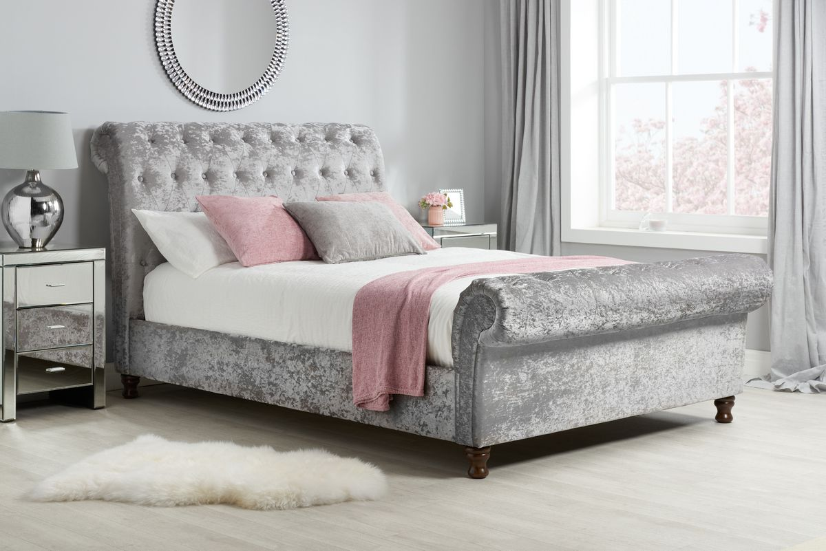 Castello Bed   Crushed Steel   Fabric bed frame, Sleigh ...