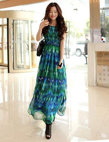 c972176a1b5 Bali Trendy Peacock Feather Printed Sleeveless Maxi Chiffon Dress For  Women