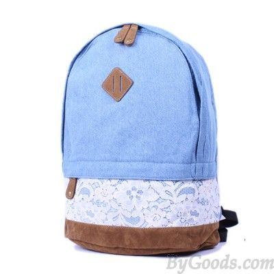 bf6a488405 Fresh Denim Bow Lace Student Backpack