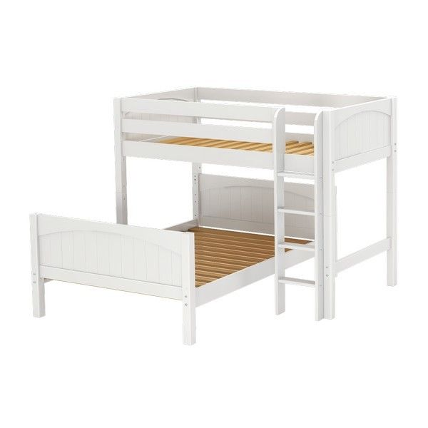 Single Over Double Bunk Bed In L Shape Configuration Alternative Way Of Setting It Up Than Usual Stacked Version Bunk Beds Kids Bunk Beds Kid Beds Single over double bunk bed
