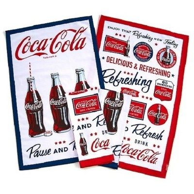 Attractive COCA COLA COKE 4PC KITCHEN TOWELS SET NEW!!
