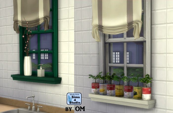 The Sims 4 | orangemittens Sill Frill - A window sill with 7 slots by OM | buy mode new objects surfaces display