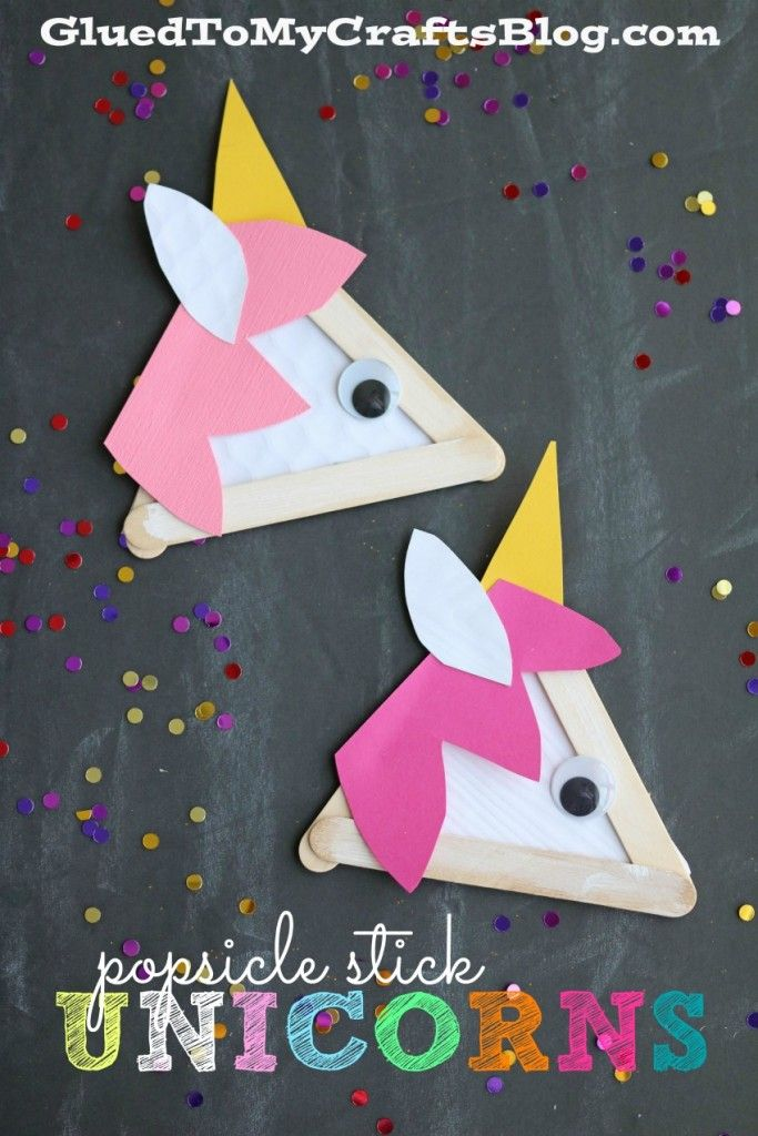 Popsicle stick unicorns kid craft unicorns craft and blog for Popsicle crafts for kids