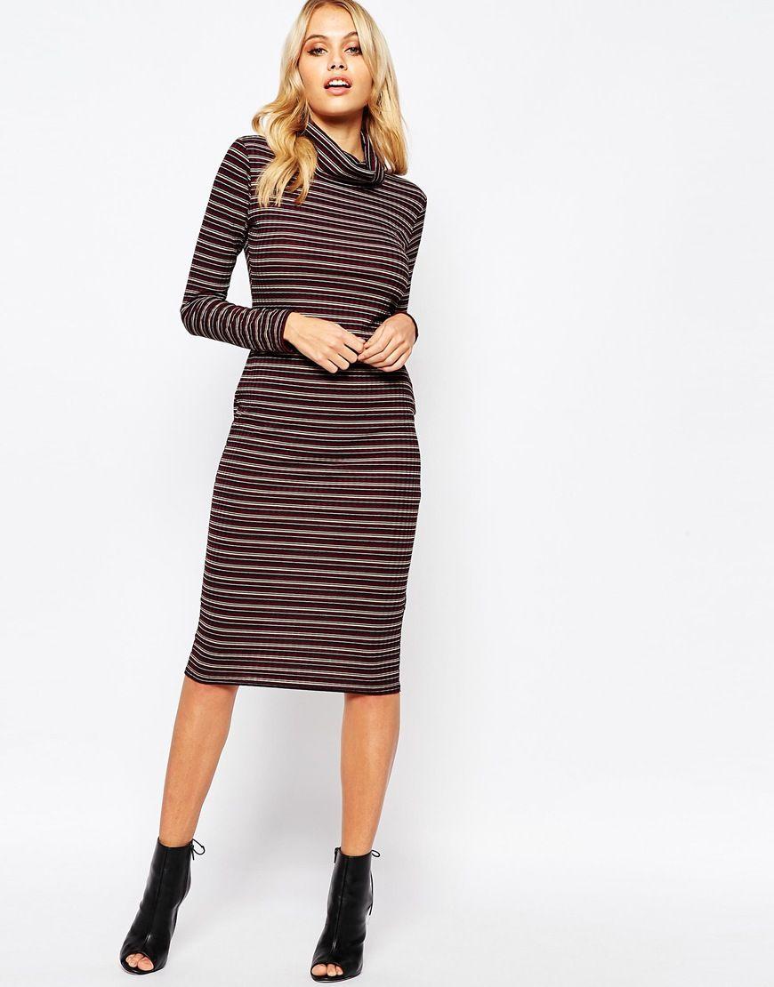 5924424b6cf Image 4 of Boohoo Striped Rib High Neck Bodycon Midi Dress