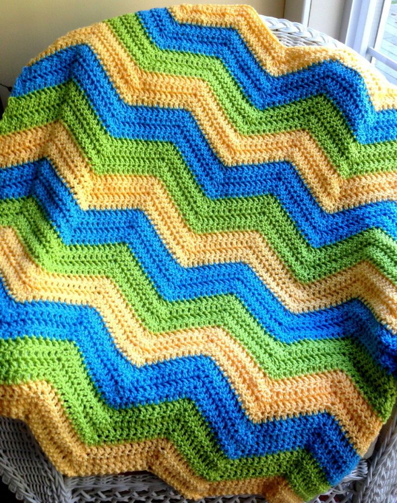 CROCHET baby blanket afghan chevron ripple handmade VANNA WHITE ...