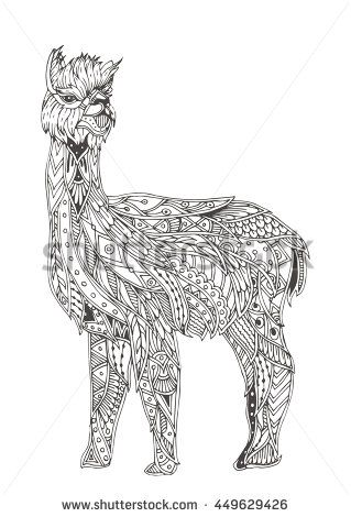 Handdrawn alpaca with ethnic floral doodle pattern