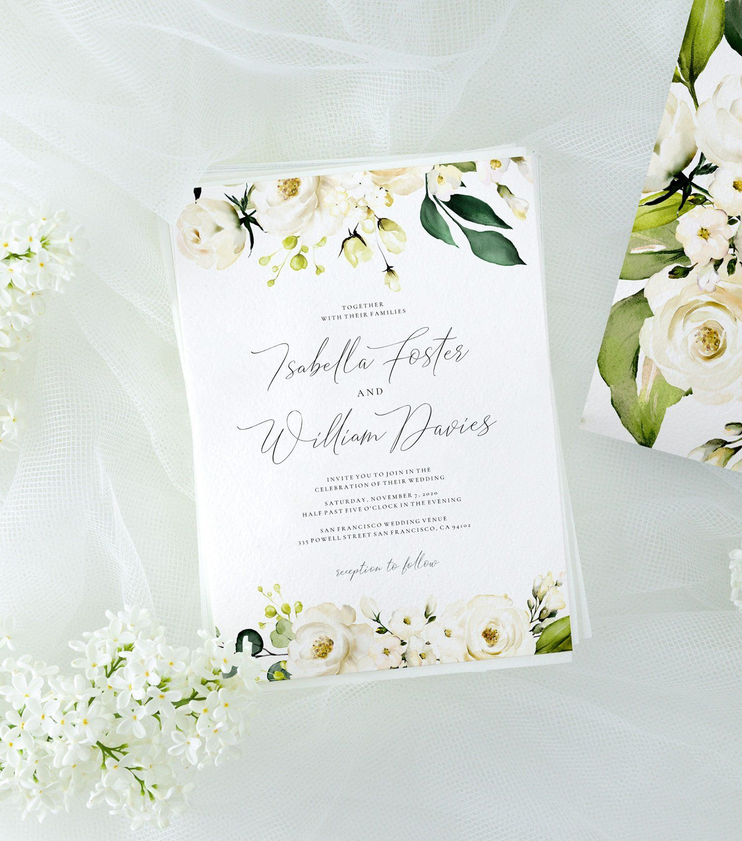 Wedding Invitation Template With Watercolor White Roses Greenery