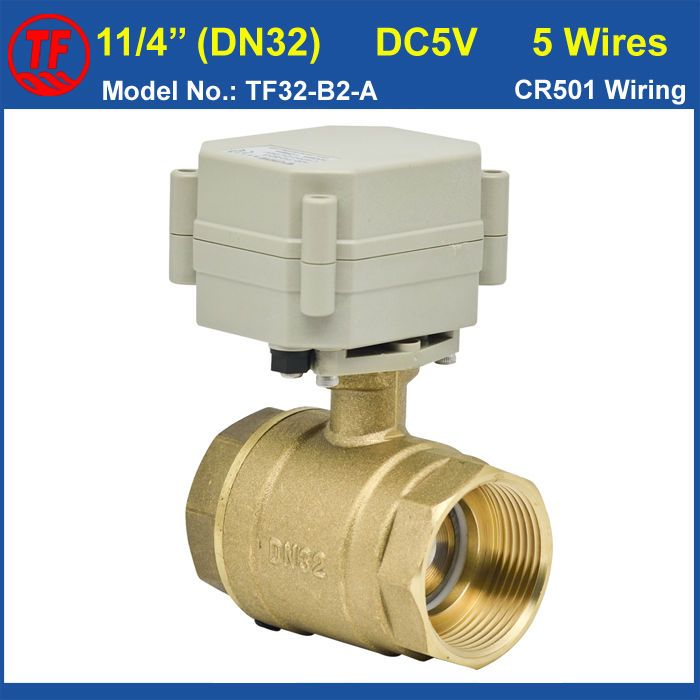 """(Buy here: http://appdeal.ru/33as ) Recommend 5 Wires Motorized Ball Balve DN32 (29mm bore), DC5V 11/4"""" Eelectrical Valve With Signal Feedback On/Off 5 Sec CE, IP67 for just US $36.11"""