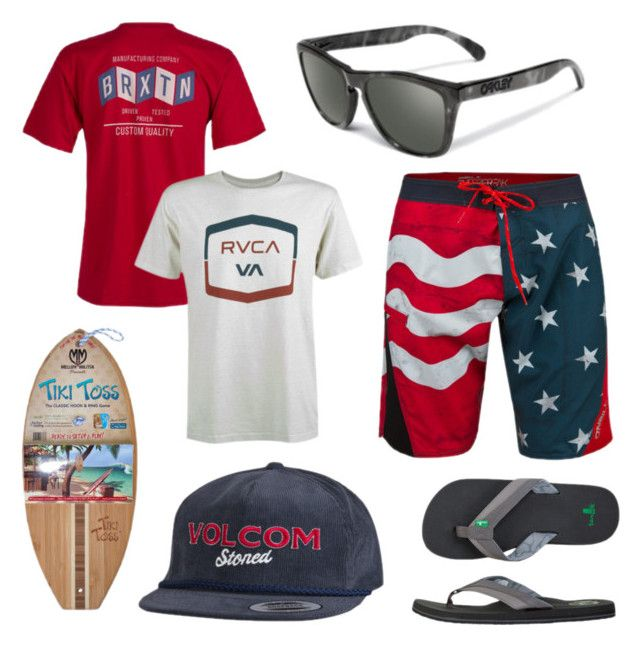 4th of July for guys by sundancebeach on Polyvore featuring RVCA, Volcom, Oakley, Brixton and sanuk
