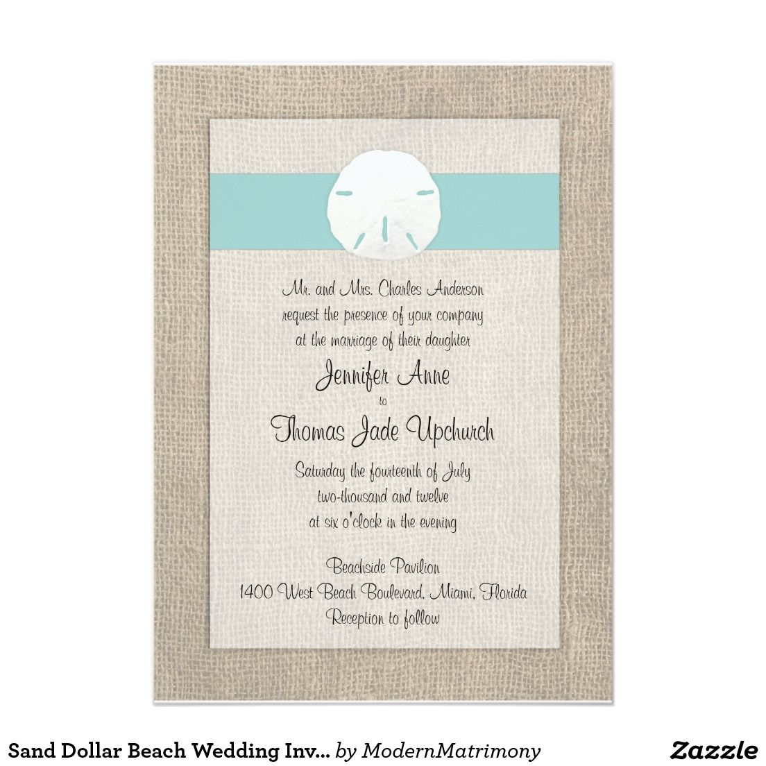 Sand Dollar Beach Wedding Invitation Turquoise Zazzle Com In