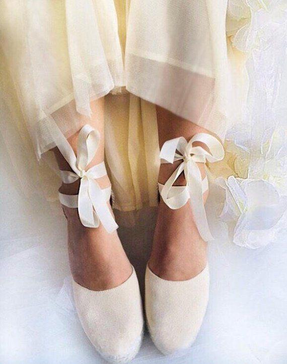 fdce6d7fc SWAN Ivory Wedge Lace Up Espadrilles Boho style #weddingshoes #wedding # bride #bride #weddingdress #boho #bohowedding #romanticbride #shoes