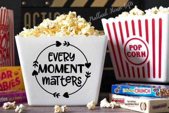 Personalized Popcorn Tub Every Moment Matters Custom Popcorn Tub Party Favor Popcorn Bowl Christmas Gift