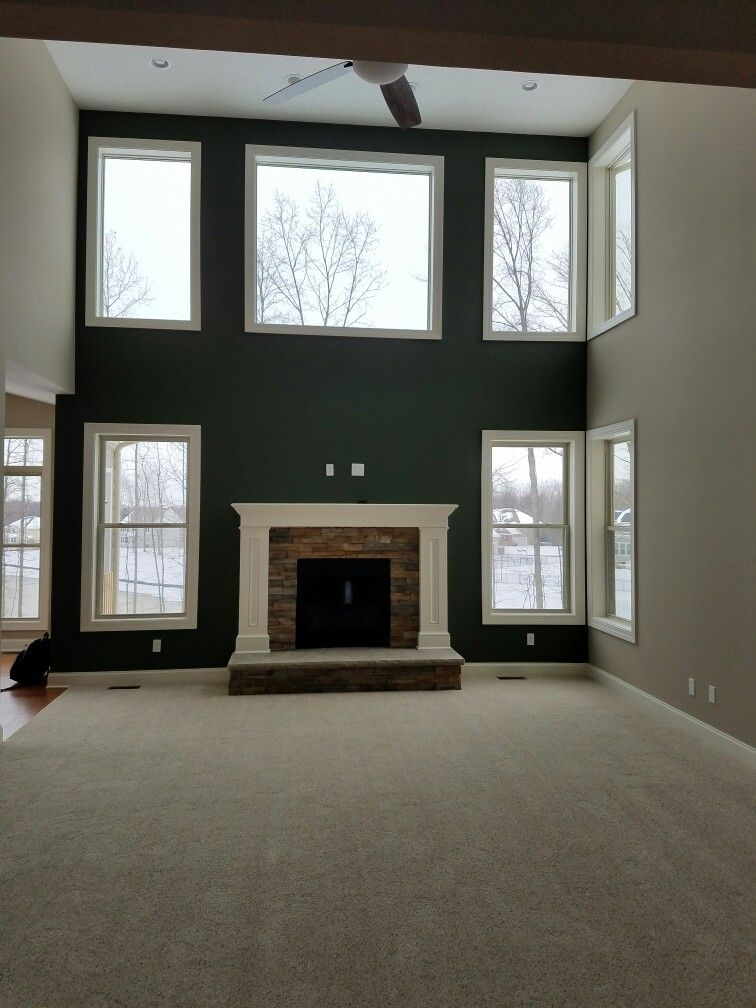 Sherwin Williams Rockwood Dark Green And Balanced Beige Decor Family Space In 2019