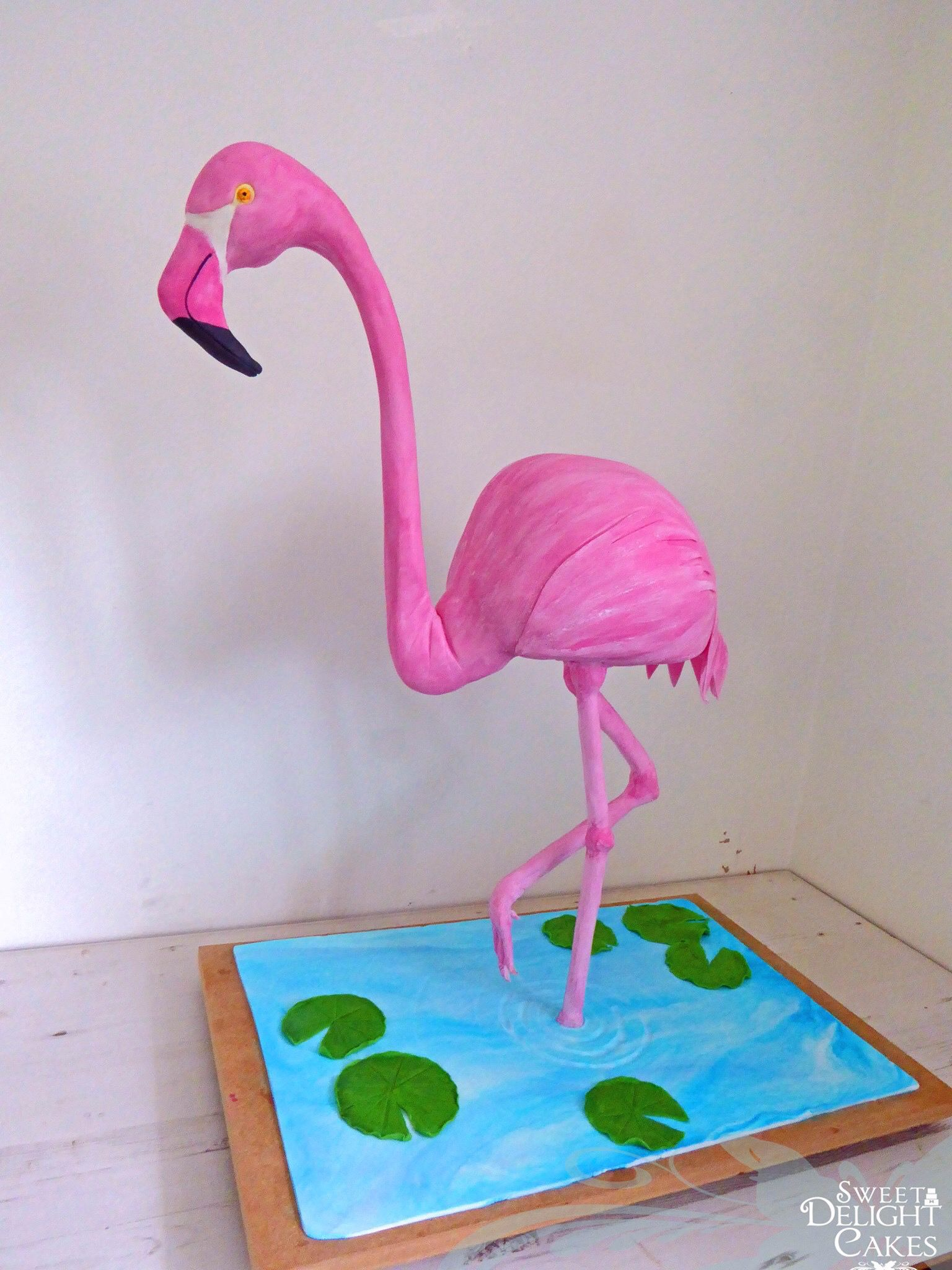 3D structure Flamingo cake made using modelling chocolate and sugar ...