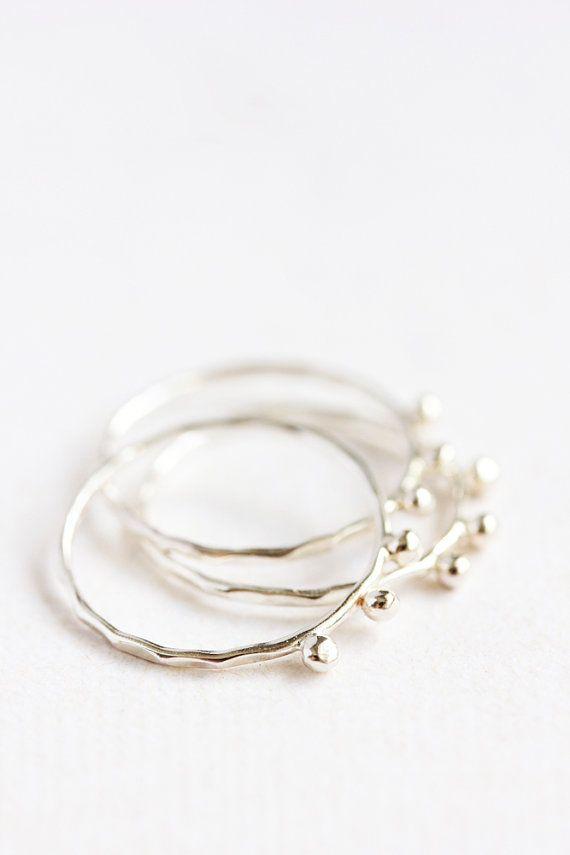 Mince en argent sterling empilement anneaux bio par BelindaSaville