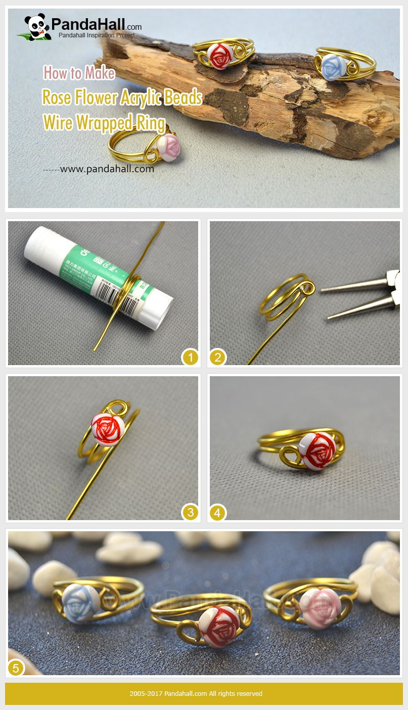 Photo of How to Make Rose Flower Acrylic Beads Wire Wrapped Ring Wrap the gold aluminum w…