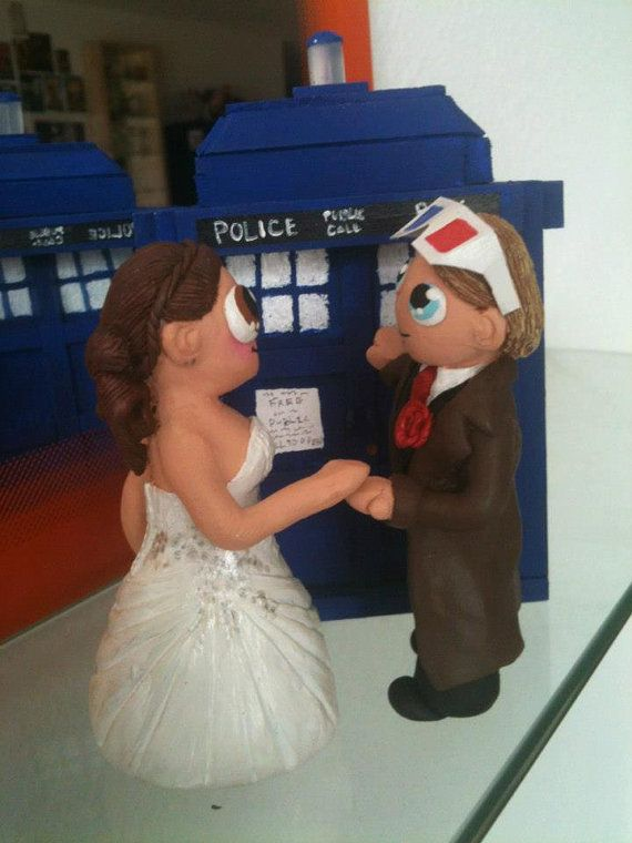 CUSTOM OOAK Doctor Who Wedding Cake Topper Made by bananafairy59