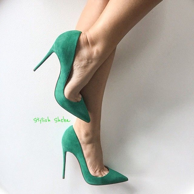 Dreaming in greens - #ChristianLouboutin 120mm Mint Suede #SoKate