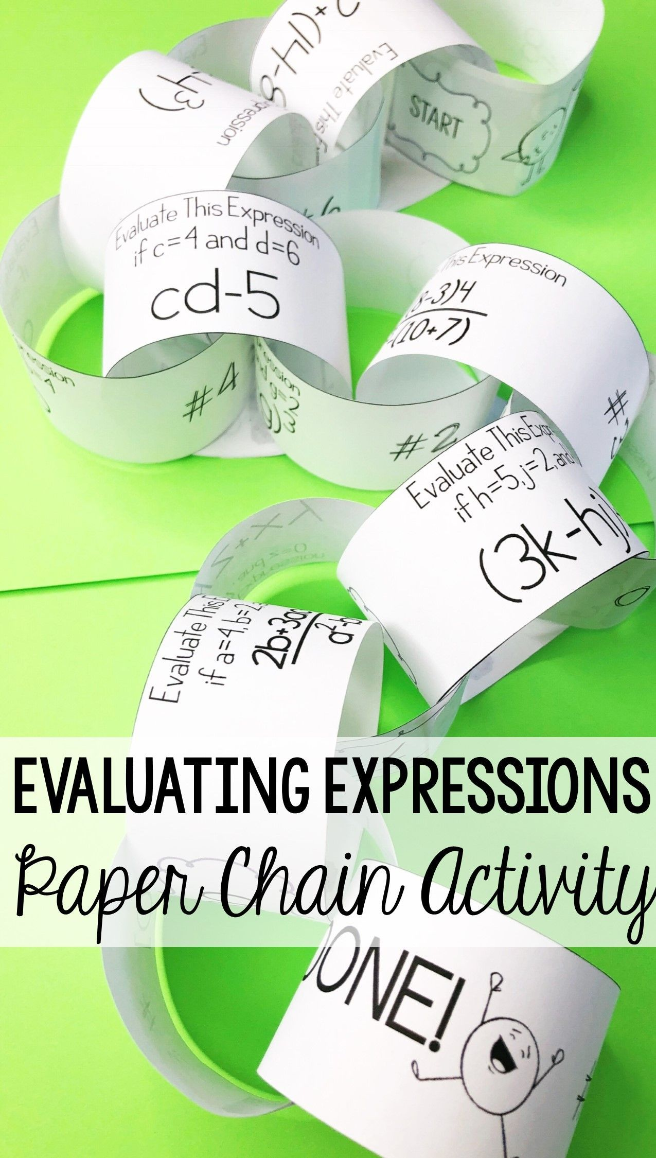 This scientific notation paper chain activity really had my 8th grade math  stude…   Evaluating algebraic expressions [ 2250 x 1275 Pixel ]