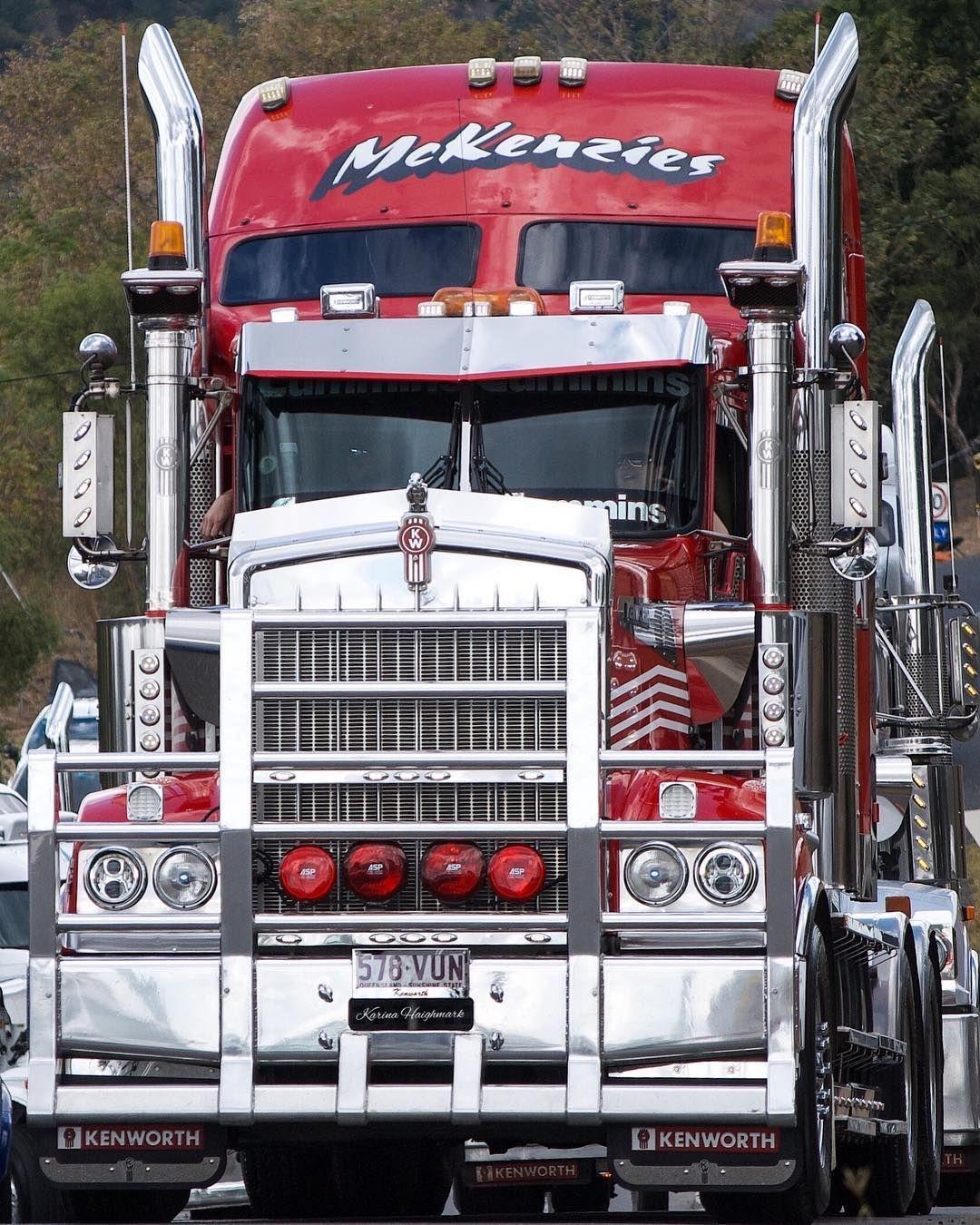 Mckenzies Kenworth Truck Kenworthtrucksaustralia Bigrig Red Gleaming Shine Kenworthtruck Truckphoto Custom Trucks Rat Rods Truck Custom Wheels Trucks