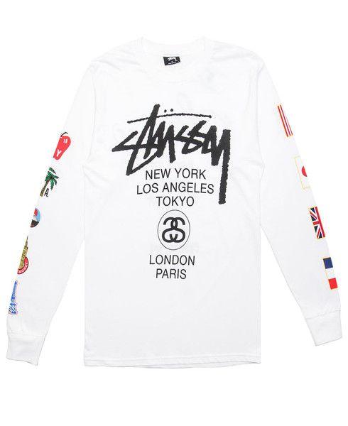 0346006c4 STUSSY - WORLD TOUR FLAGS L/S T-SHIRT (WHITE) | New Arrivals - Nov ...