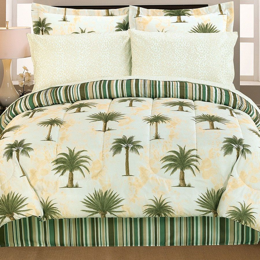 KING White PALM TREE EMBROIDERED CAL-KING Bed Sheet Set Microfiber CAL