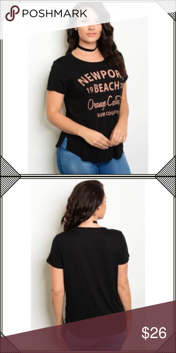 """ee2436240e8 🌴COMFY PLUS SIZE TEE🌴 🌴PLUS SIZE TEE SHIRT FEATURES FRONT """"NEWPORT  BEACH"""" FRONT, SPLIT SIDE HEM, ROUND NECK, SHORT SLEEVES. 🌴VISCOSE/ SPANDEX  🌴1X B: ..."""