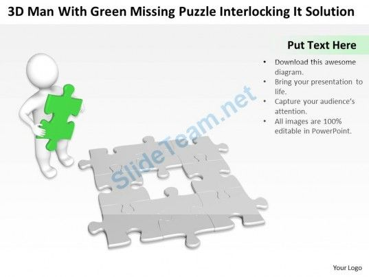 3d man with green missing puzzle interlocking it solution ppt we present our man with green missing puzzle interlocking it solution ppt graphic icon powerpoint templates this image has been conceived to enable you to toneelgroepblik Images