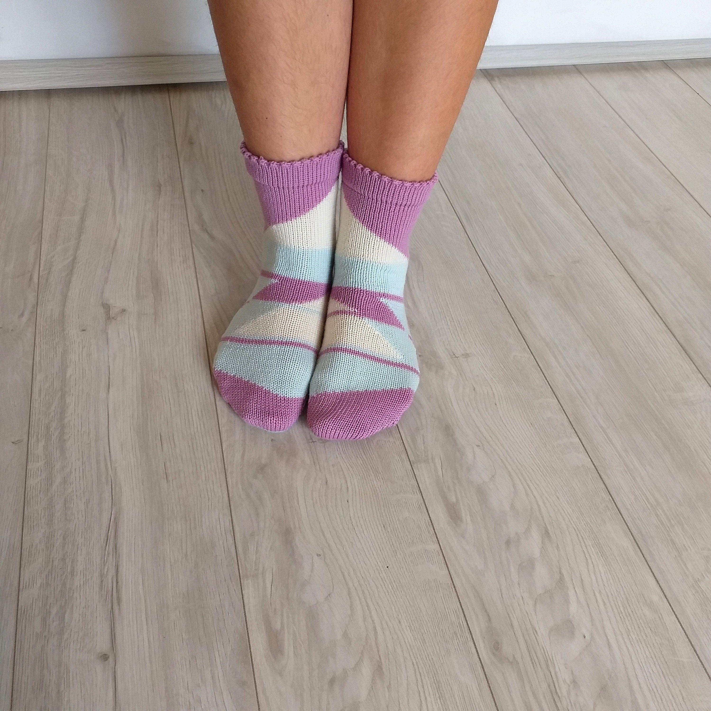 Red wool socks Women socks Merino socks Handmade 100/% merino Geometric ornament Present on Birthday Christmas gift Interesting Knitted house