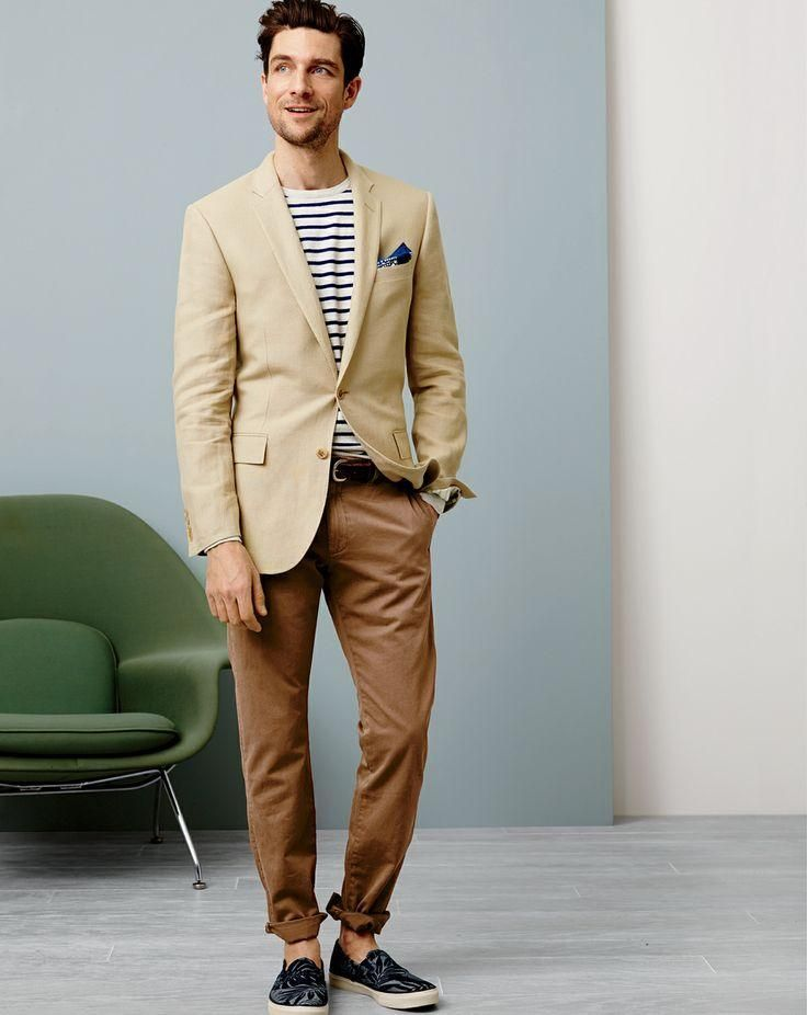 Men's Tan Blazer, White and Black Horizontal Striped Crew-neck Sweater,  Brown Chinos, Navy Canvas Espadrilles