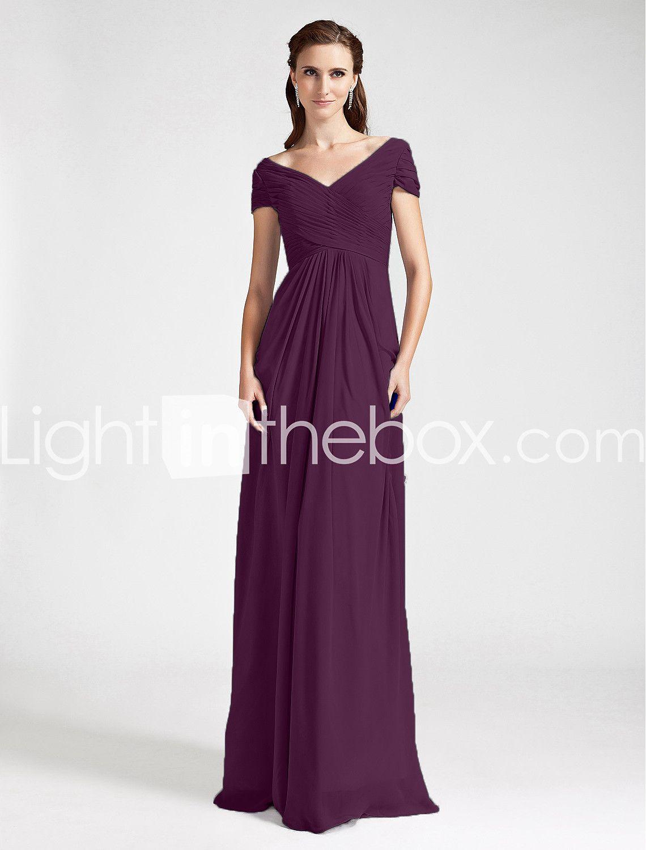 Ίσια Γραμμή Λαιμόκοψη V Ώμοι Έξω Μακρύ Σιφόν Φόρεμα Παρανύμφων με ...