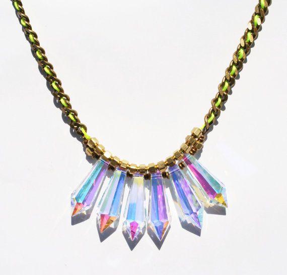Neon Necklace - Crystal AB Neckalace - Hologram Necklace -Chandelier Crystal Necklace - Prism Necklace $42.99