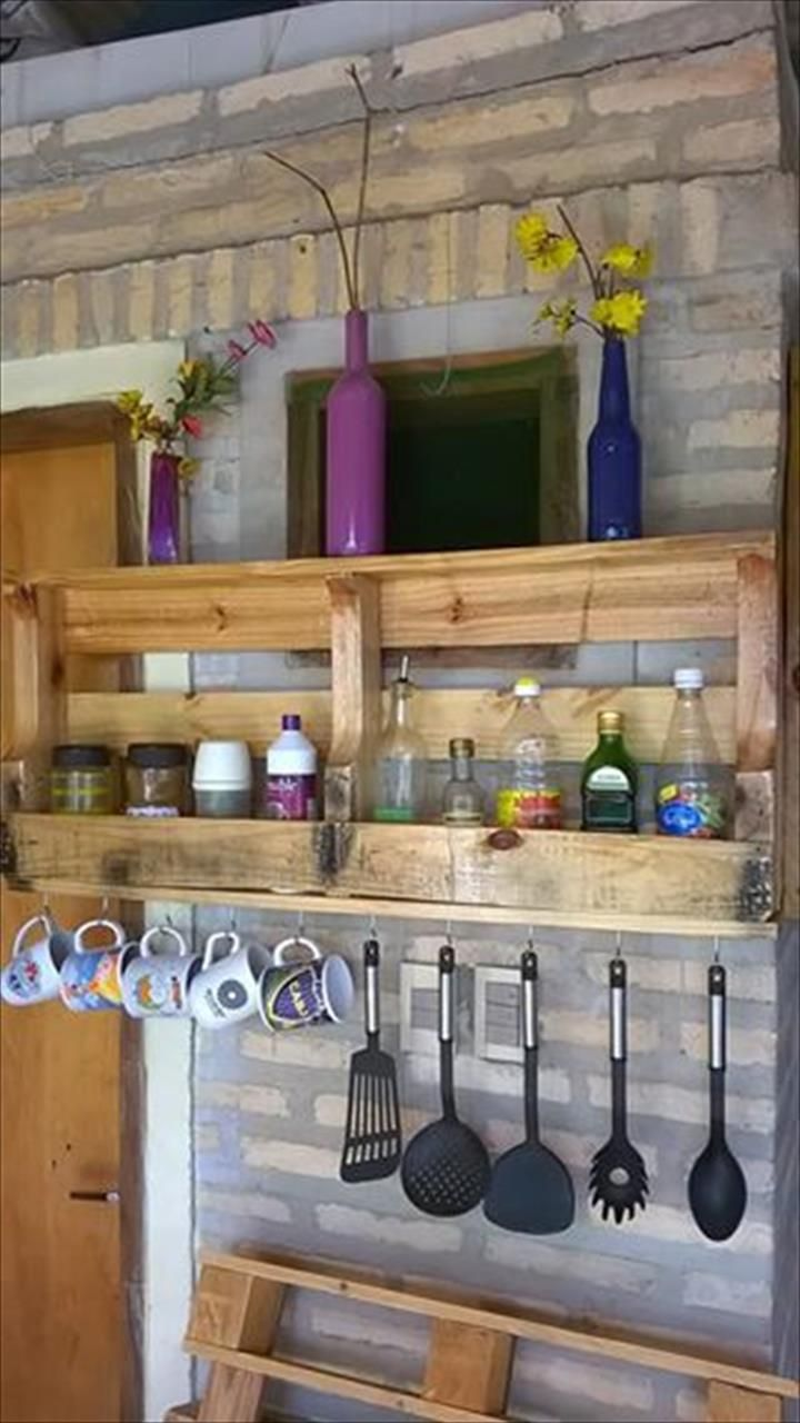 Diy Wall Mounted Pallet Kitchen Shelf 99 Pallets