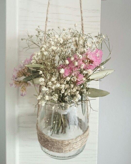 Monadesbyn riatena detalle de cristal con peque o ramo de flores naturales flor deco - Plantas secas decoracion ...