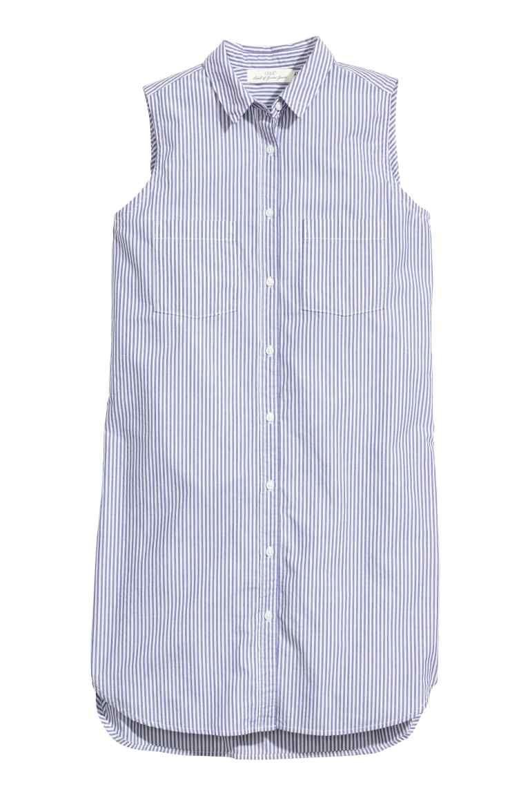 6f11d2e205 Vestido camisero sin mangas  Vestido camisero corto en tejido de algodón.  Modelo sin mangas